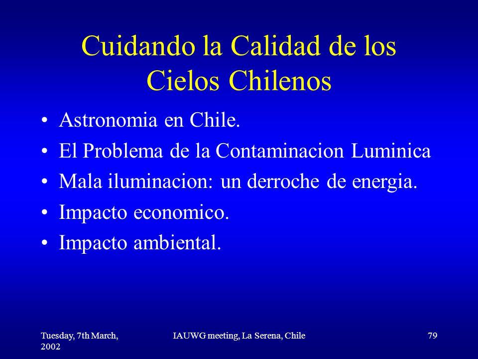 Tuesday, 7th March, 2002 IAUWG meeting, La Serena, Chile79 Cuidando la Calidad de los Cielos Chilenos Astronomia en Chile.