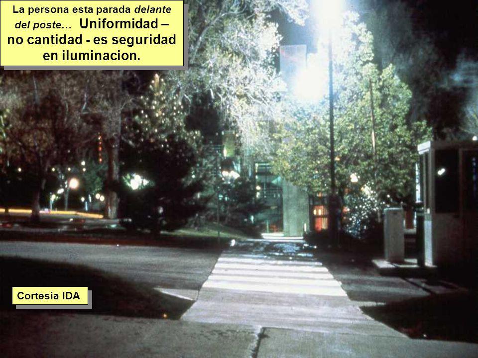 Tuesday, 7th March, 2002 IAUWG meeting, La Serena, Chile8 La persona esta parada delante del poste… Uniformidad – no cantidad - es seguridad en iluminacion.