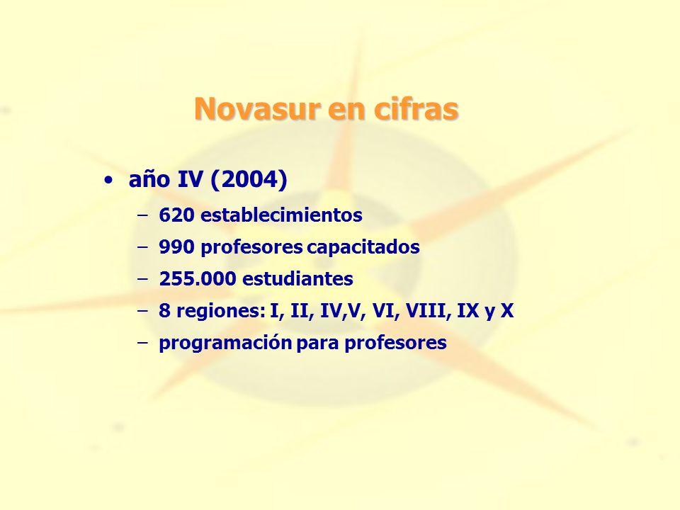 Novasur en cifras año IV (2004) –620 establecimientos –990 profesores capacitados –255.000 estudiantes –8 regiones: I, II, IV,V, VI, VIII, IX y X –programación para profesores