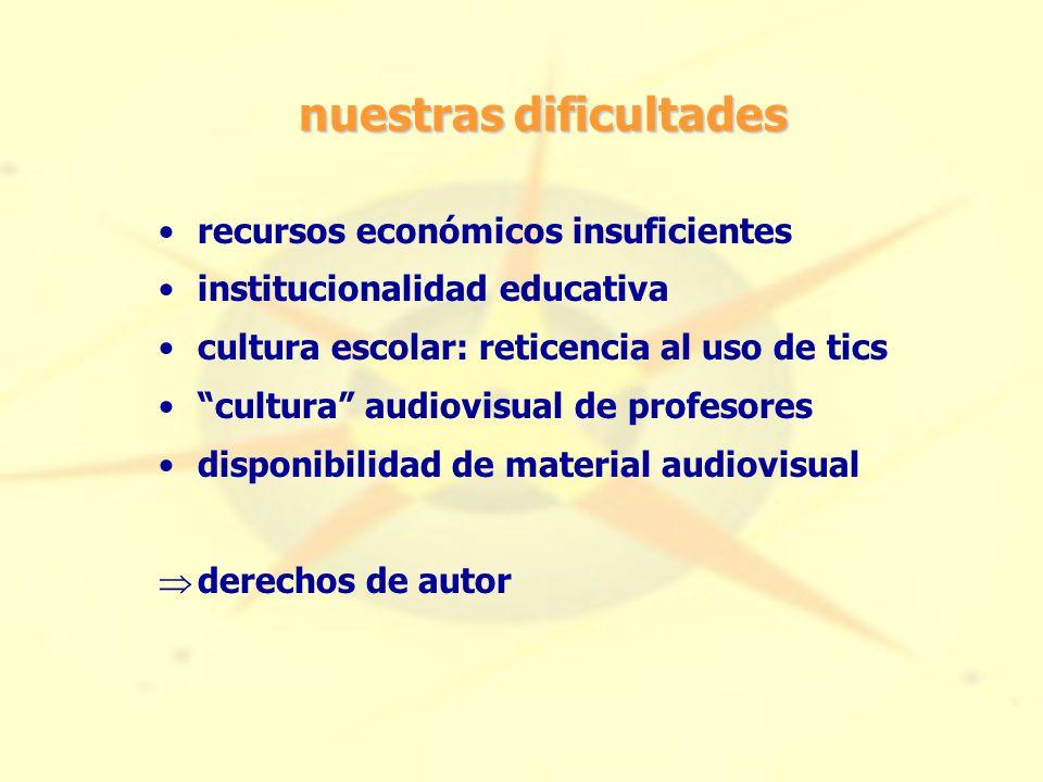 nuestras dificultades recursos económicos insuficientes institucionalidad educativa cultura escolar: reticencia al uso de tics cultura audiovisual de profesores disponibilidad de material audiovisual  derechos de autor