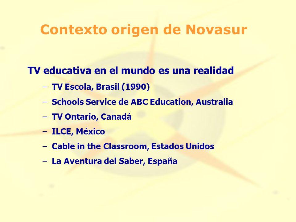TV educativa en el mundo es una realidad –TV Escola, Brasil (1990) –Schools Service de ABC Education, Australia –TV Ontario, Canadá –ILCE, México –Cable in the Classroom, Estados Unidos –La Aventura del Saber, España Contexto origen de Novasur