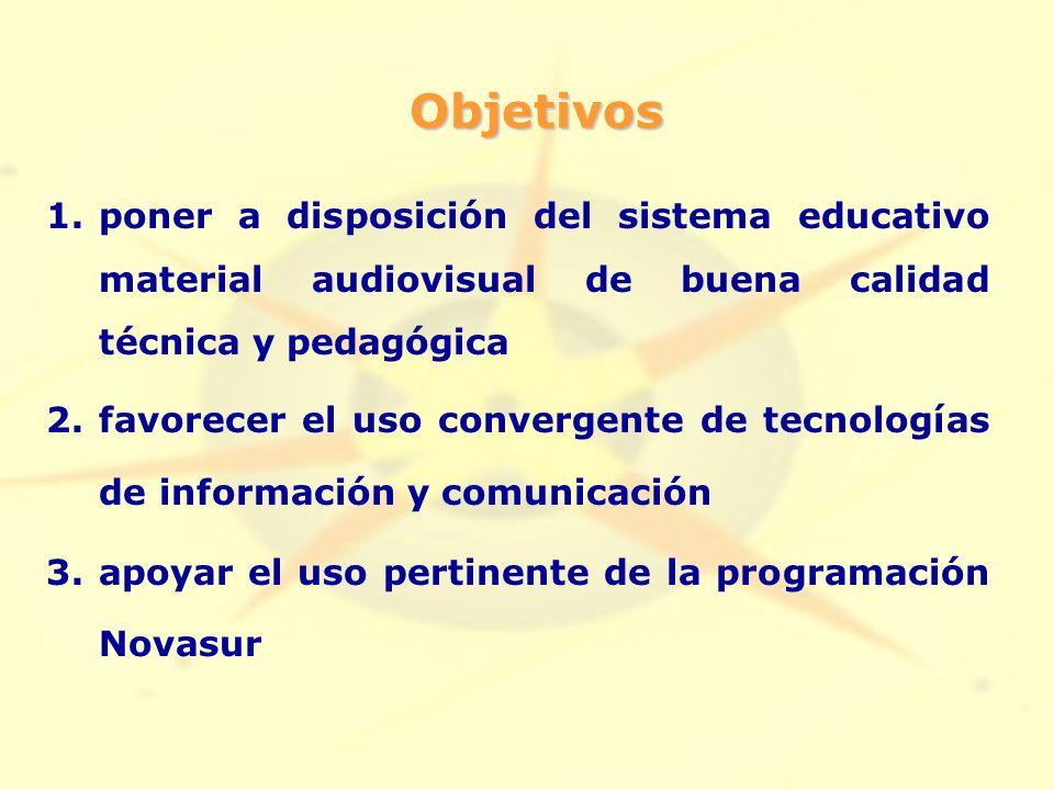 Objetivos 1.poner a disposición del sistema educativo material audiovisual de buena calidad técnica y pedagógica 2.favorecer el uso convergente de tecnologías de información y comunicación 3.apoyar el uso pertinente de la programación Novasur