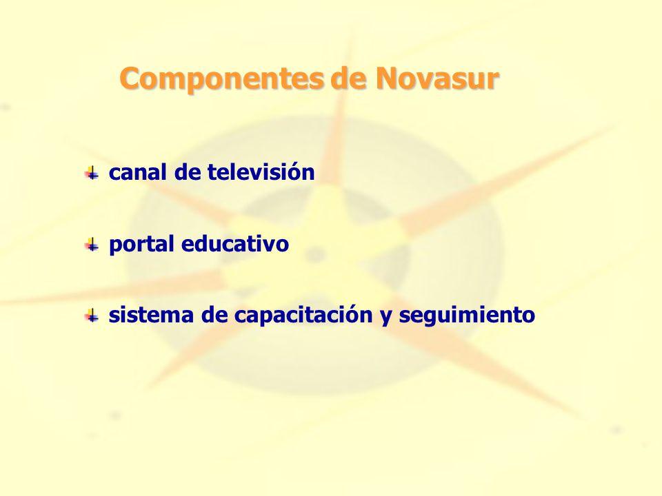 Componentes de Novasur canal de televisión portal educativo sistema de capacitación y seguimiento