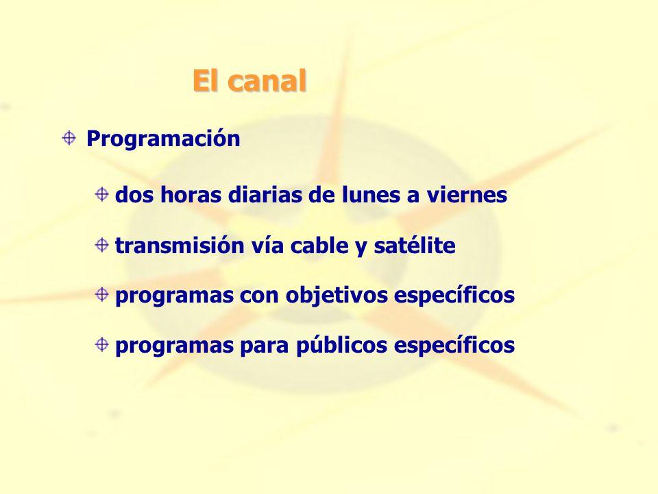 El canal Programación dos horas diarias de lunes a viernes transmisión vía cable y satélite programas con objetivos específicos programas para públicos específicos