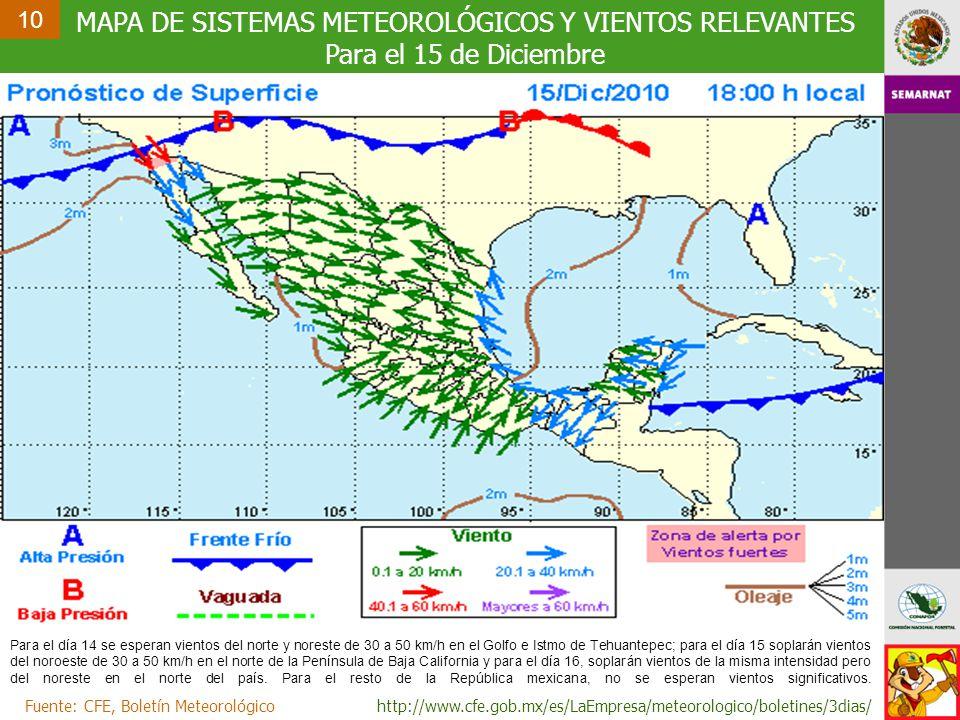 MAPA DE SISTEMAS METEOROLÓGICOS Y VIENTOS RELEVANTES Para el 15 de Diciembre Fuente: CFE, Boletín Meteorológicohttp://www.cfe.gob.mx/es/LaEmpresa/meteorologico/boletines/3dias/ 10 Para el día 14 se esperan vientos del norte y noreste de 30 a 50 km/h en el Golfo e Istmo de Tehuantepec; para el día 15 soplarán vientos del noroeste de 30 a 50 km/h en el norte de la Península de Baja California y para el día 16, soplarán vientos de la misma intensidad pero del noreste en el norte del país.
