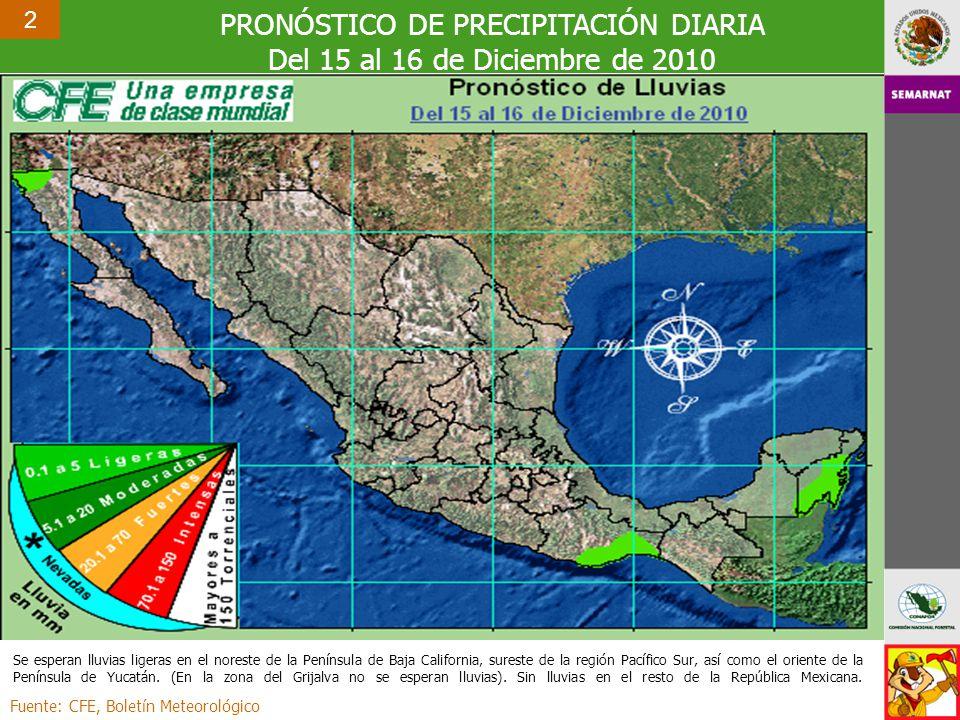PRONÓSTICO DE PRECIPITACIÓN DIARIA Del 15 al 16 de Diciembre de 2010 Fuente: CFE, Boletín Meteorológico 2 Se esperan lluvias ligeras en el noreste de la Península de Baja California, sureste de la región Pacífico Sur, así como el oriente de la Península de Yucatán.