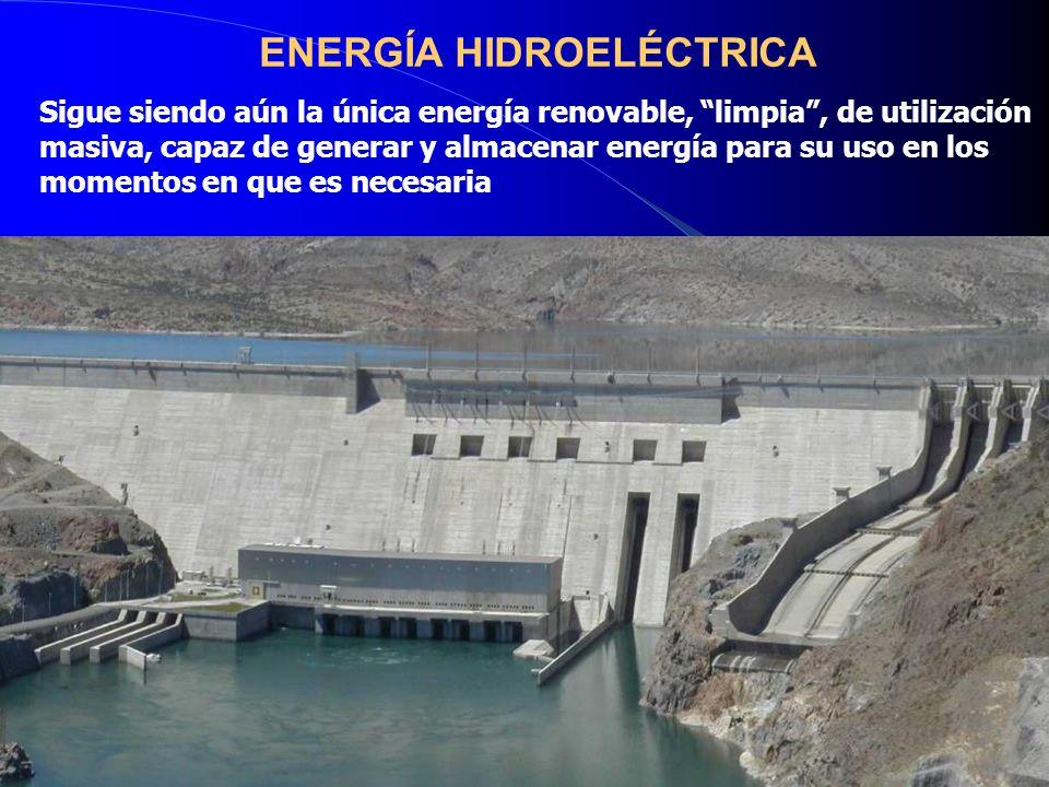 ENERGÍA HIDROELÉCTRICA Sigue siendo aún la única energía renovable, limpia , de utilización masiva, capaz de generar y almacenar energía para su uso en los momentos en que es necesaria