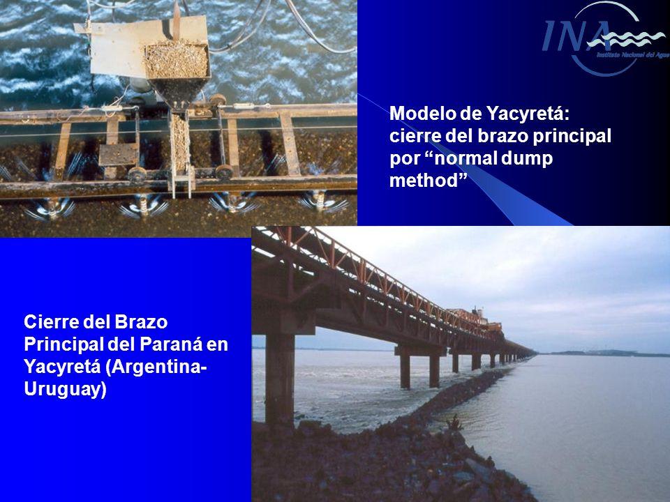 Modelo de Yacyretá: cierre del brazo principal por normal dump method Cierre del Brazo Principal del Paraná en Yacyretá (Argentina- Uruguay)