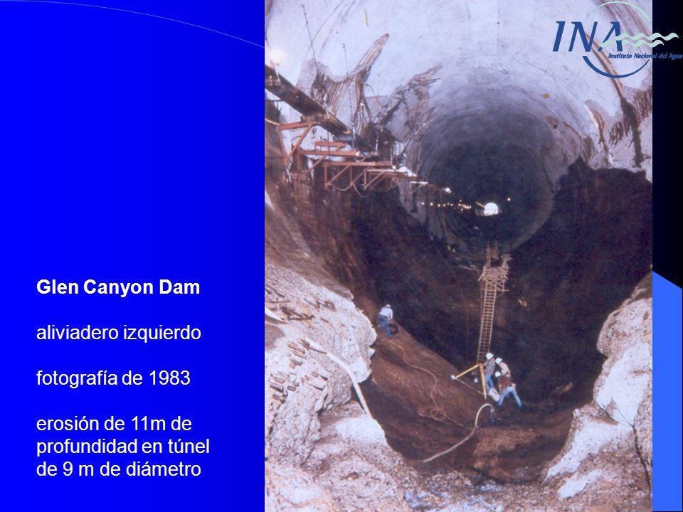 Glen Canyon Dam aliviadero izquierdo fotografía de 1983 erosión de 11m de profundidad en túnel de 9 m de diámetro