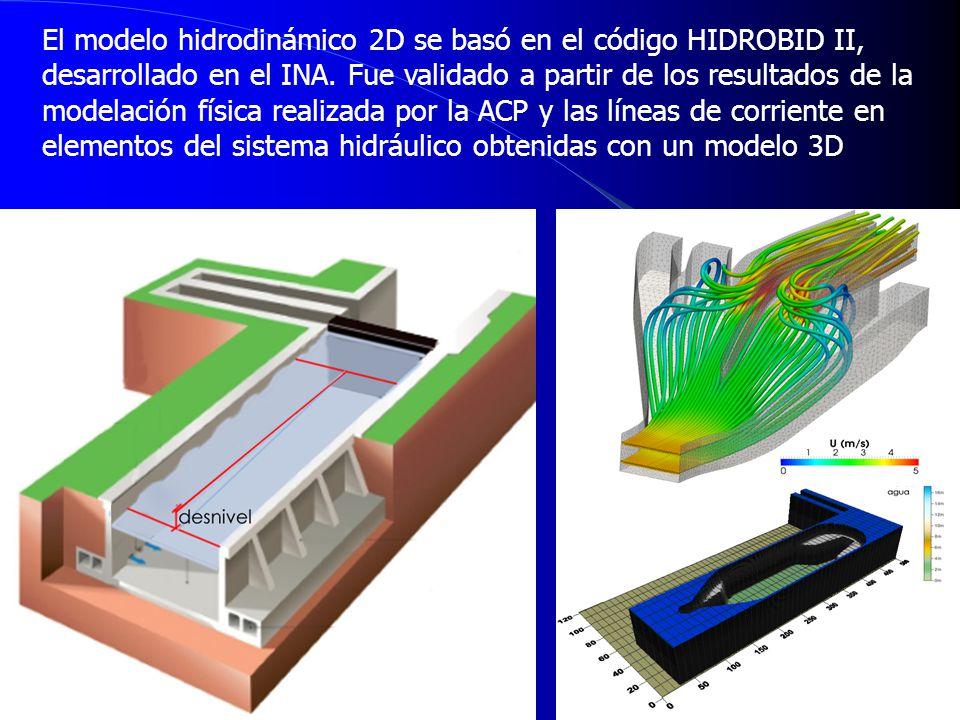 El modelo hidrodinámico 2D se basó en el código HIDROBID II, desarrollado en el INA.