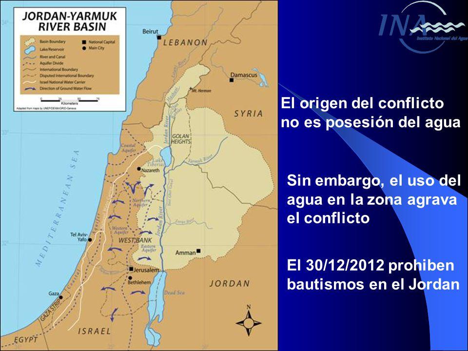 El origen del conflicto no es posesión del agua Sin embargo, el uso del agua en la zona agrava el conflicto El 30/12/2012 prohiben bautismos en el Jordan