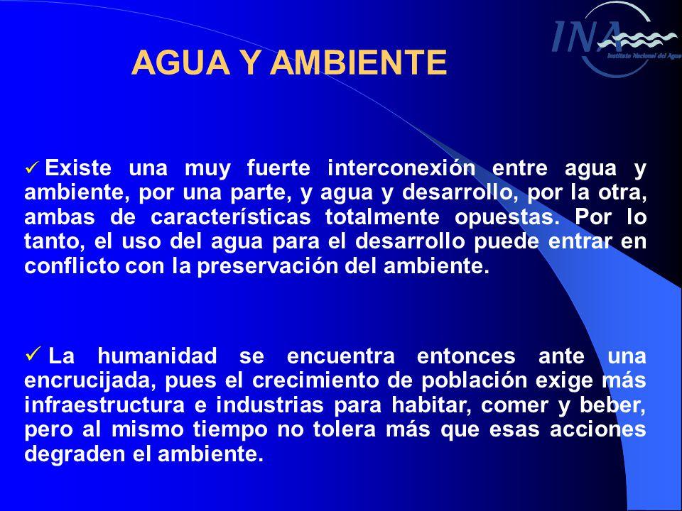 AGUA Y AMBIENTE Existe una muy fuerte interconexión entre agua y ambiente, por una parte, y agua y desarrollo, por la otra, ambas de características totalmente opuestas.