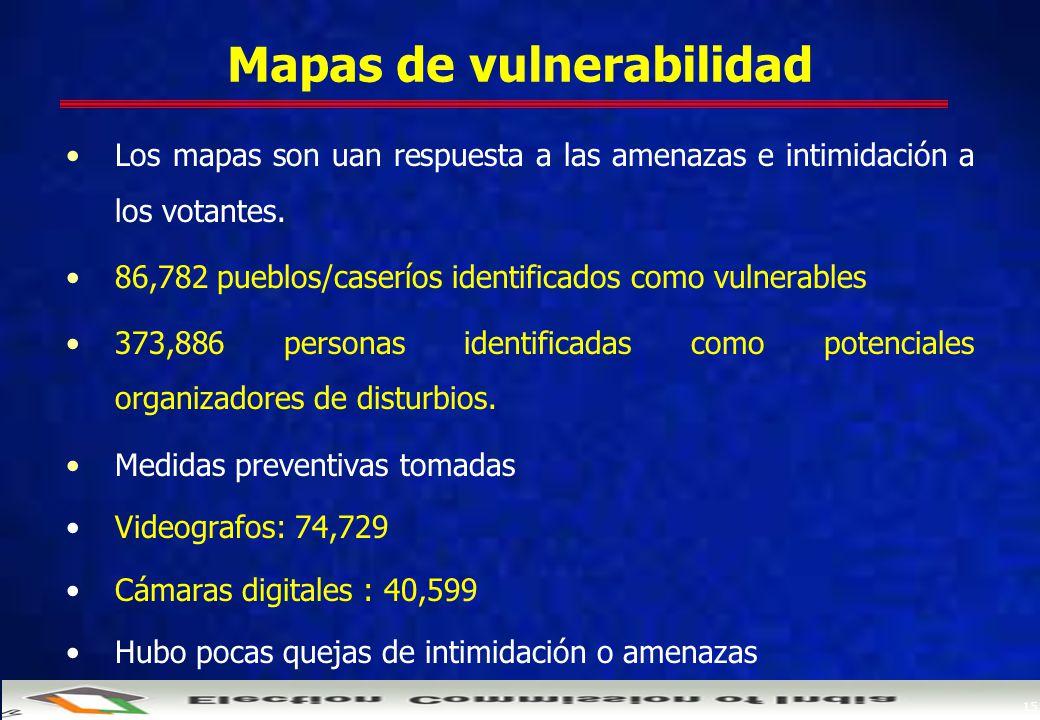 15 Mapas de vulnerabilidad Los mapas son uan respuesta a las amenazas e intimidación a los votantes.