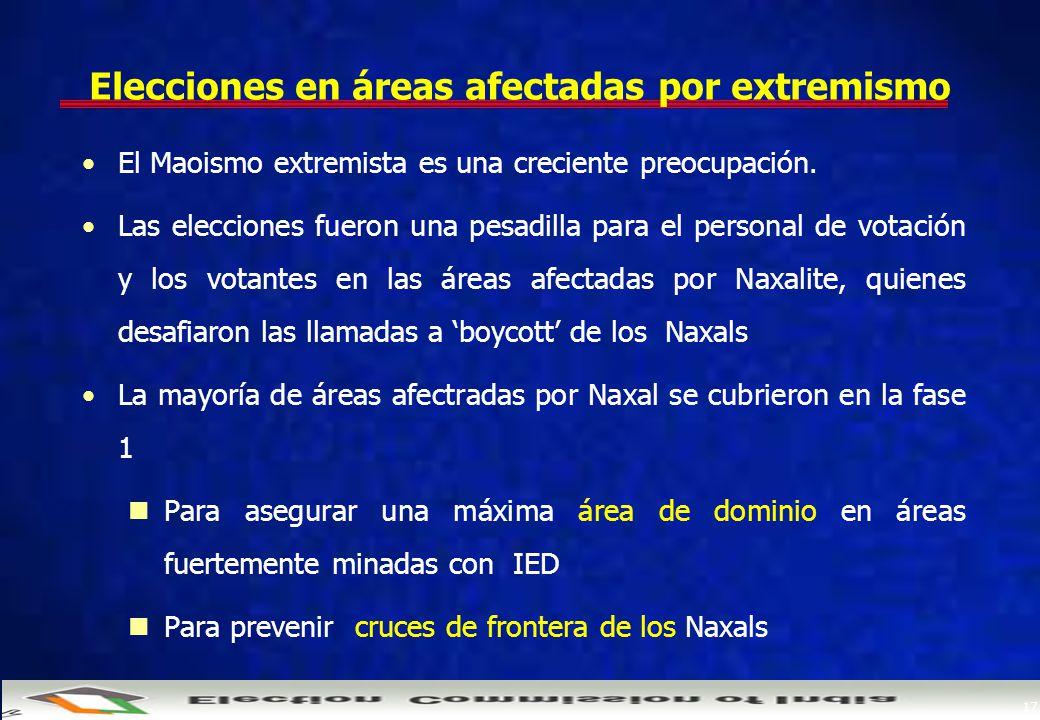 17 Elecciones en áreas afectadas por extremismo El Maoismo extremista es una creciente preocupación.