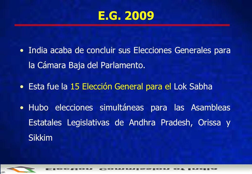 2 E.G. 2009 India acaba de concluir sus Elecciones Generales para la Cámara Baja del Parlamento.