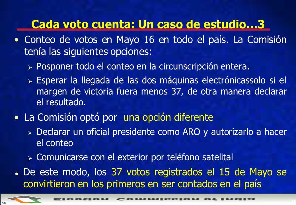 21 Cada voto cuenta: Un caso de estudio…3 Conteo de votos en Mayo 16 en todo el país.