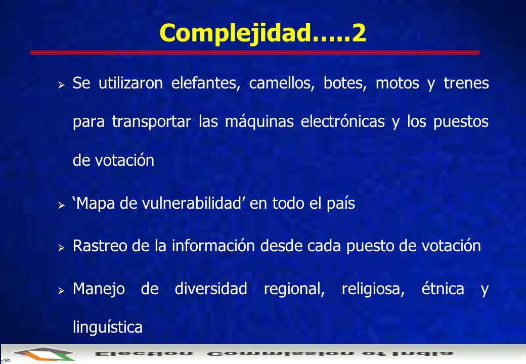 7 Complejidad…..2  Se utilizaron elefantes, camellos, botes, motos y trenes para transportar las máquinas electrónicas y los puestos de votación  'Mapa de vulnerabilidad' en todo el país  Rastreo de la información desde cada puesto de votación  Manejo de diversidad regional, religiosa, étnica y linguística
