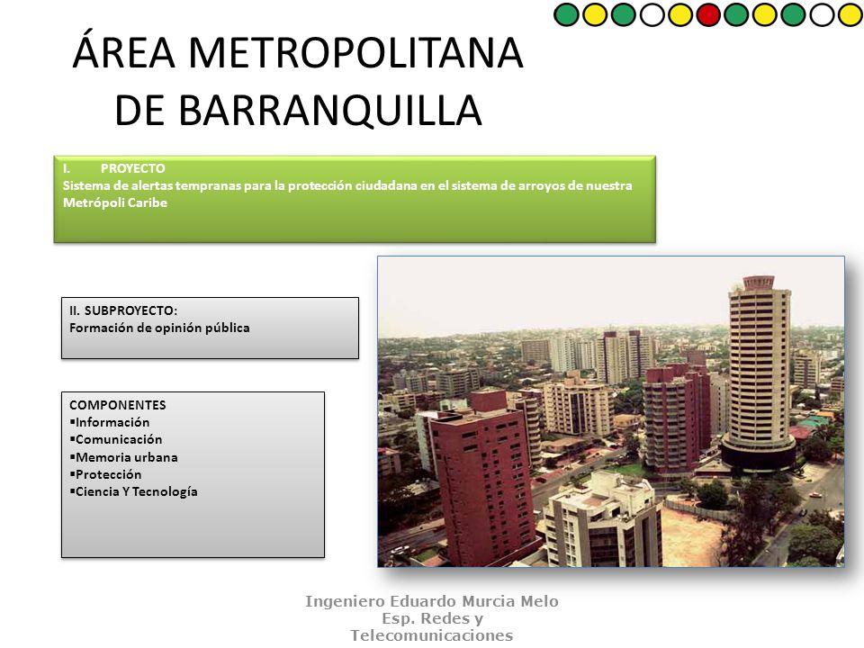 ÁREA METROPOLITANA DE BARRANQUILLA I.PROYECTO Sistema de alertas tempranas para la protección ciudadana en el sistema de arroyos de nuestra Metrópoli Caribe I.PROYECTO Sistema de alertas tempranas para la protección ciudadana en el sistema de arroyos de nuestra Metrópoli Caribe II.