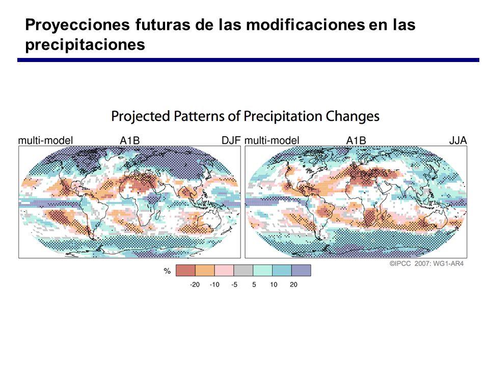 Proyecciones futuras de las modificaciones en las precipitaciones