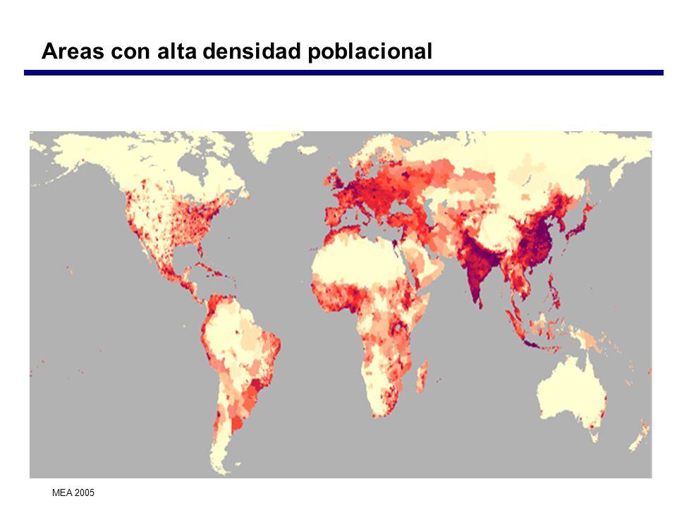 Areas con alta densidad poblacional MEA 2005