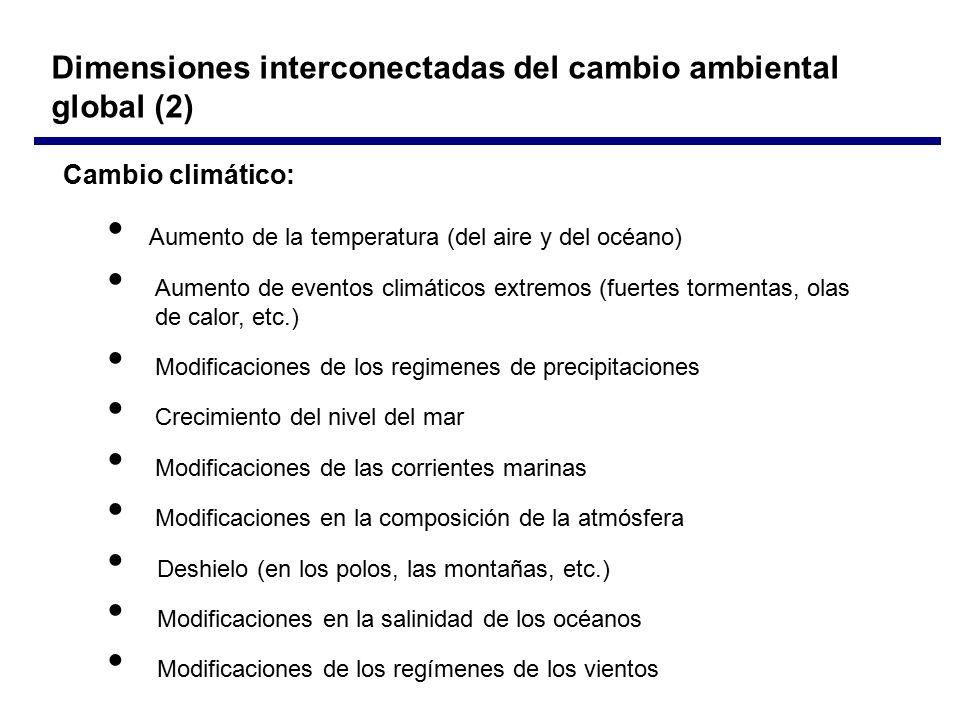 Cambio climático: Aumento de la temperatura (del aire y del océano) Aumento de eventos climáticos extremos (fuertes tormentas, olas de calor, etc.) Modificaciones de los regimenes de precipitaciones Crecimiento del nivel del mar Modificaciones de las corrientes marinas Modificaciones en la composición de la atmósfera Deshielo (en los polos, las montañas, etc.) Modificaciones en la salinidad de los océanos Modificaciones de los regímenes de los vientos Dimensiones interconectadas del cambio ambiental global (2)