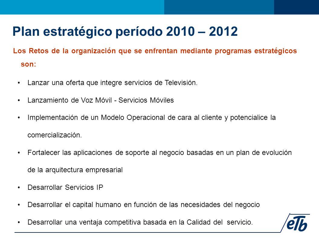 Los Retos de la organización que se enfrentan mediante programas estratégicos son: Lanzar una oferta que integre servicios de Televisión.