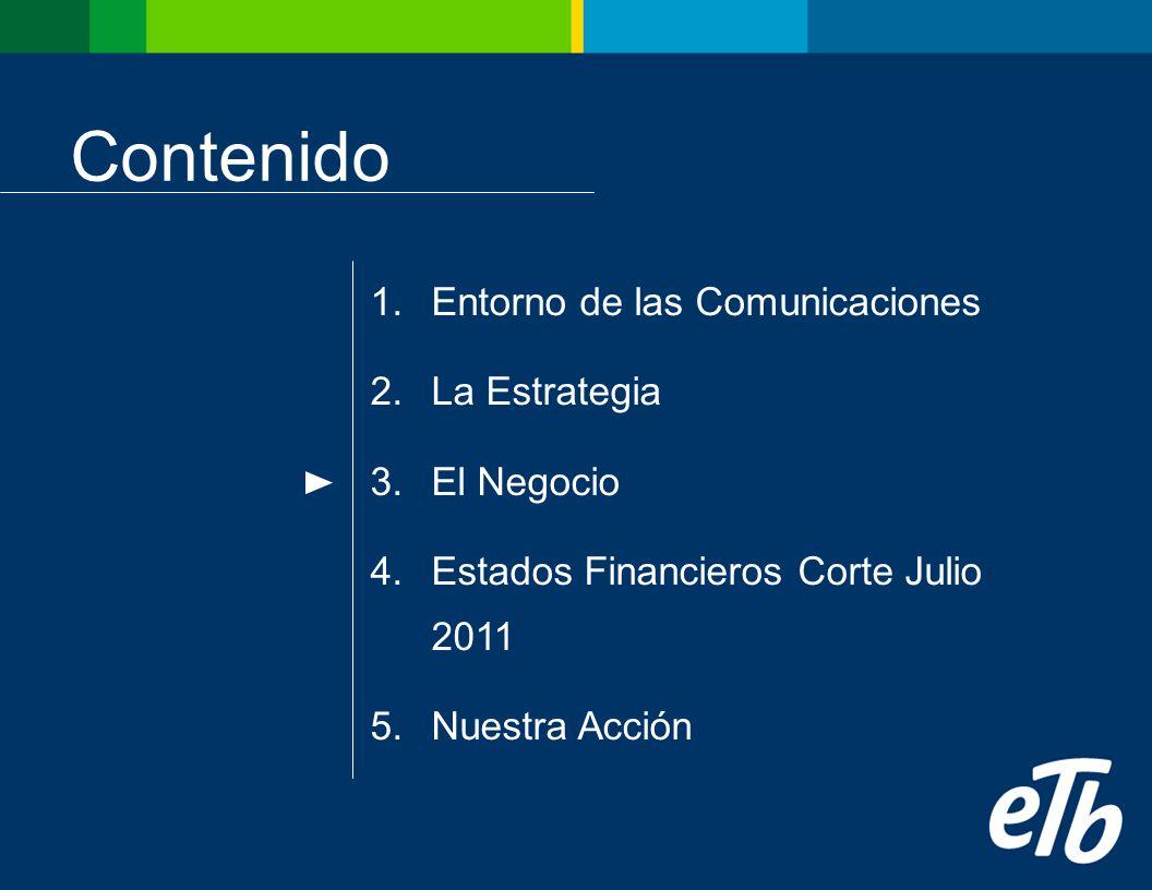 Contenido 1.Entorno de las Comunicaciones 2.La Estrategia 3.El Negocio 4.Estados Financieros Corte Julio 2011 5.Nuestra Acción