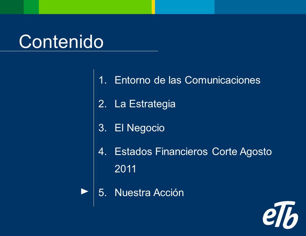 Contenido 1.Entorno de las Comunicaciones 2.La Estrategia 3.El Negocio 4.Estados Financieros Corte Agosto 2011 5.Nuestra Acción