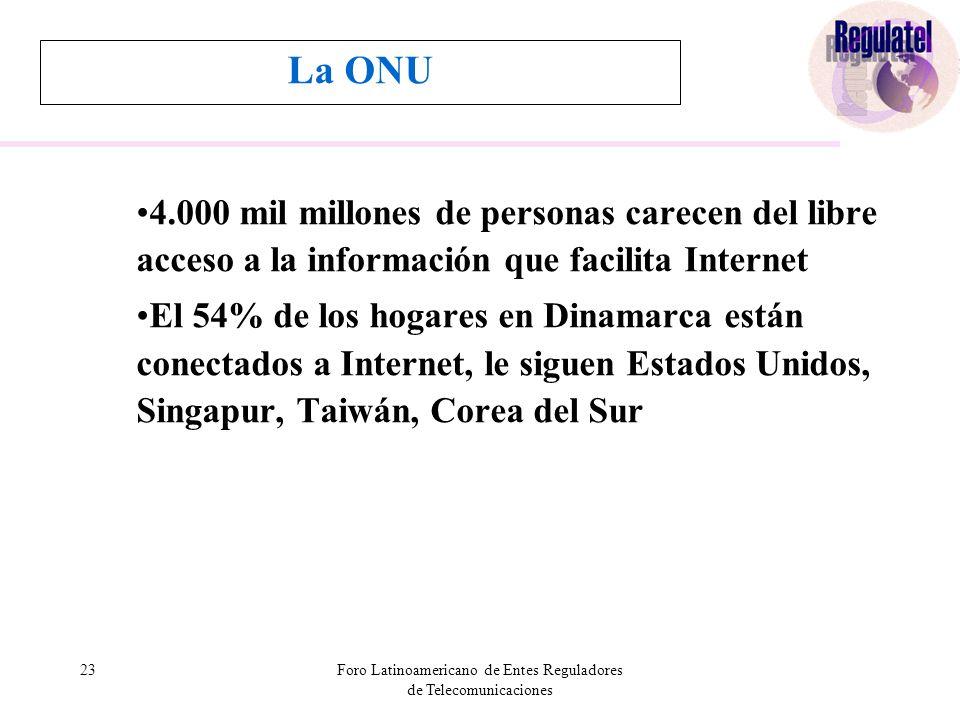 23Foro Latinoamericano de Entes Reguladores de Telecomunicaciones La ONU 4.000 mil millones de personas carecen del libre acceso a la información que facilita Internet El 54% de los hogares en Dinamarca están conectados a Internet, le siguen Estados Unidos, Singapur, Taiwán, Corea del Sur