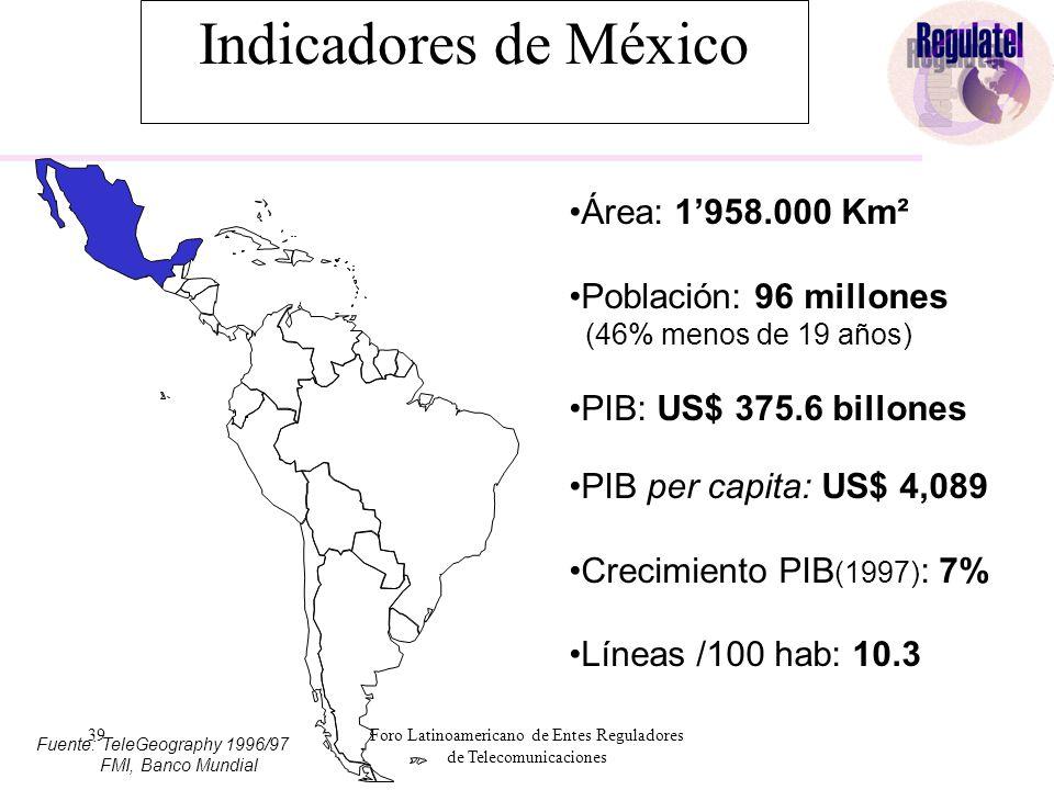 39Foro Latinoamericano de Entes Reguladores de Telecomunicaciones Indicadores de México Área: 1'958.000 Km² Población: 96 millones (46% menos de 19 años) PIB: US$ 375.6 billones PIB per capita: US$ 4,089 Crecimiento PIB (1997) : 7% Líneas /100 hab: 10.3 Fuente: TeleGeography 1996/97 FMI, Banco Mundial