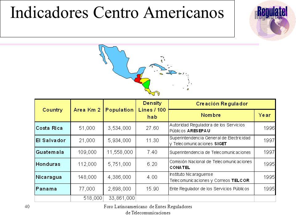 40Foro Latinoamericano de Entes Reguladores de Telecomunicaciones Indicadores Centro Americanos