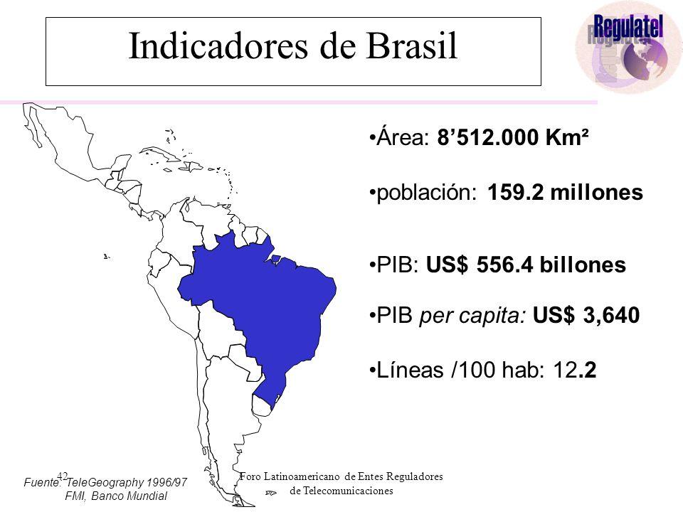 42Foro Latinoamericano de Entes Reguladores de Telecomunicaciones Área: 8'512.000 Km² población: 159.2 millones PIB: US$ 556.4 billones PIB per capita: US$ 3,640 Líneas /100 hab: 12.2 Fuente: TeleGeography 1996/97 FMI, Banco Mundial Indicadores de Brasil