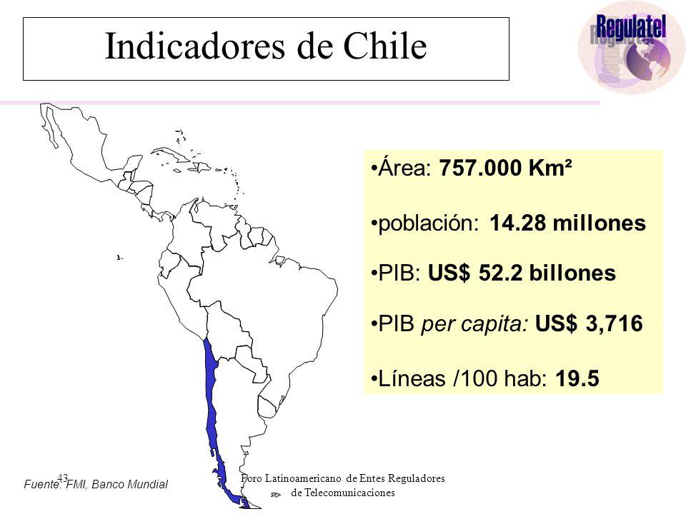 43Foro Latinoamericano de Entes Reguladores de Telecomunicaciones Fuente: FMI, Banco Mundial Área: 757.000 Km² población: 14.28 millones PIB: US$ 52.2 billones PIB per capita: US$ 3,716 Líneas /100 hab: 19.5 Indicadores de Chile