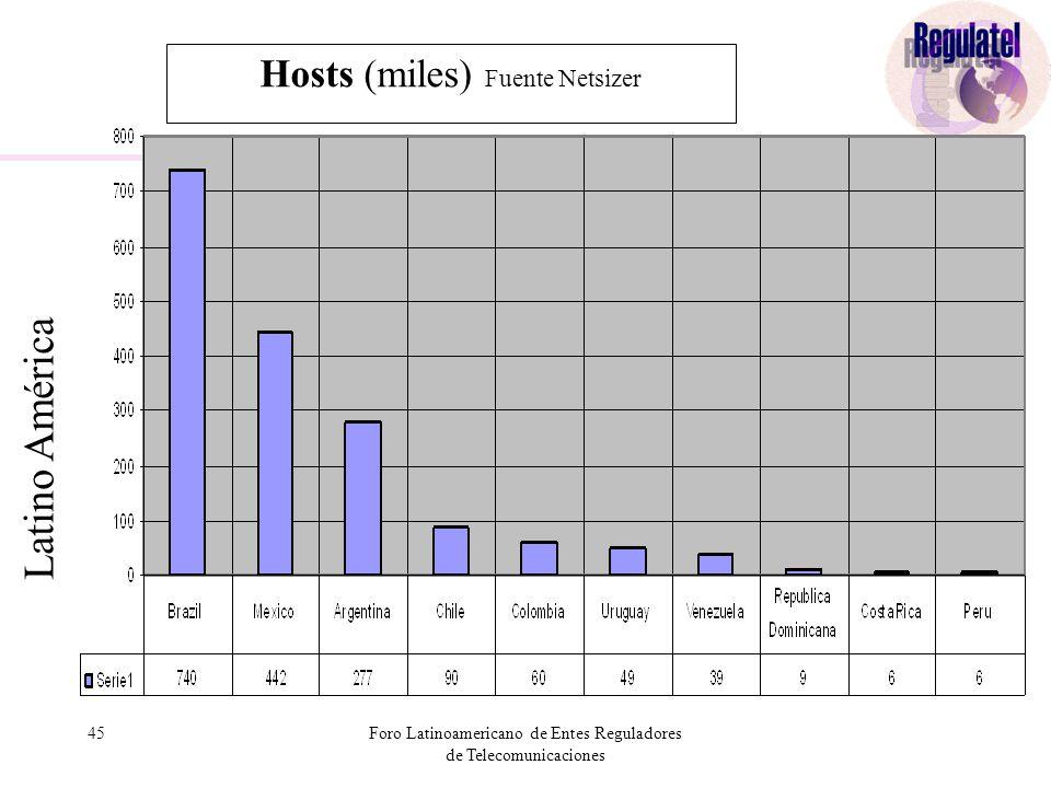 45Foro Latinoamericano de Entes Reguladores de Telecomunicaciones Hosts (miles) Fuente Netsizer Latino América