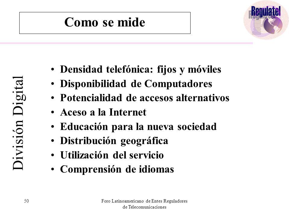 50Foro Latinoamericano de Entes Reguladores de Telecomunicaciones Como se mide División Digital Densidad telefónica: fijos y móviles Disponibilidad de Computadores Potencialidad de accesos alternativos Aceso a la Internet Educación para la nueva sociedad Distribución geográfica Utilización del servicio Comprensión de idiomas
