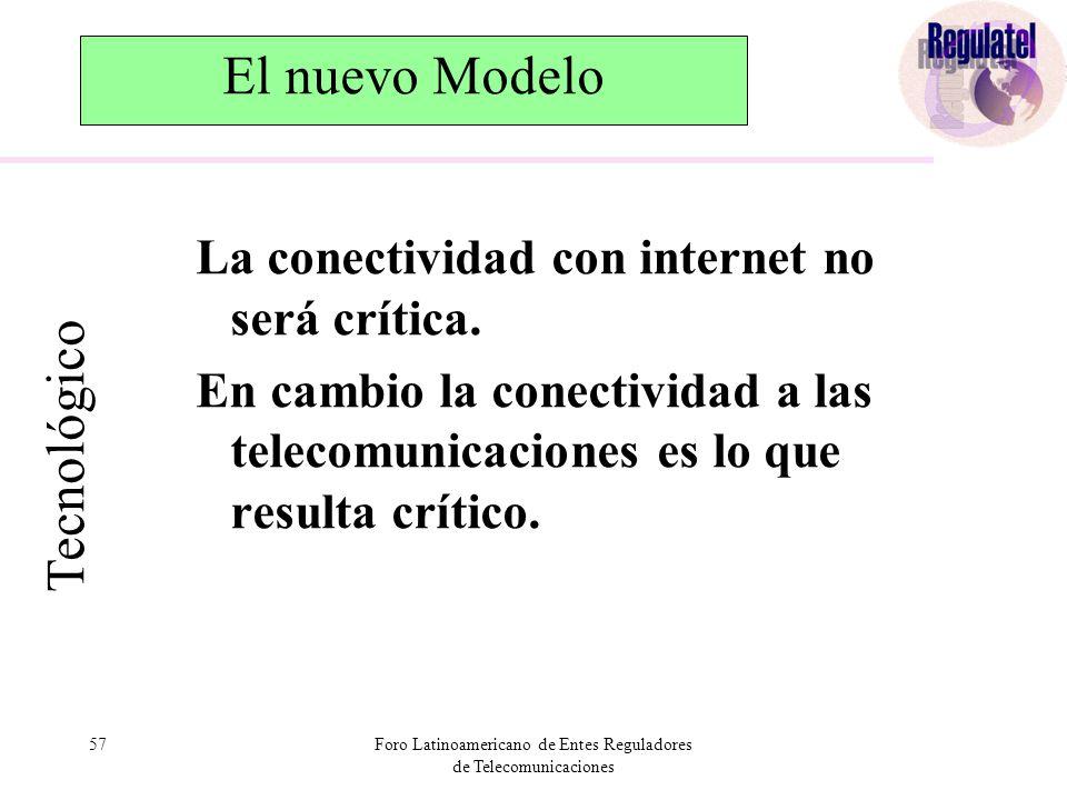57Foro Latinoamericano de Entes Reguladores de Telecomunicaciones El nuevo Modelo La conectividad con internet no será crítica.