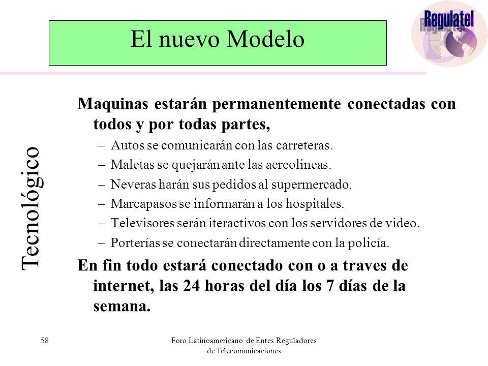 58Foro Latinoamericano de Entes Reguladores de Telecomunicaciones El nuevo Modelo Maquinas estarán permanentemente conectadas con todos y por todas partes, –Autos se comunicarán con las carreteras.