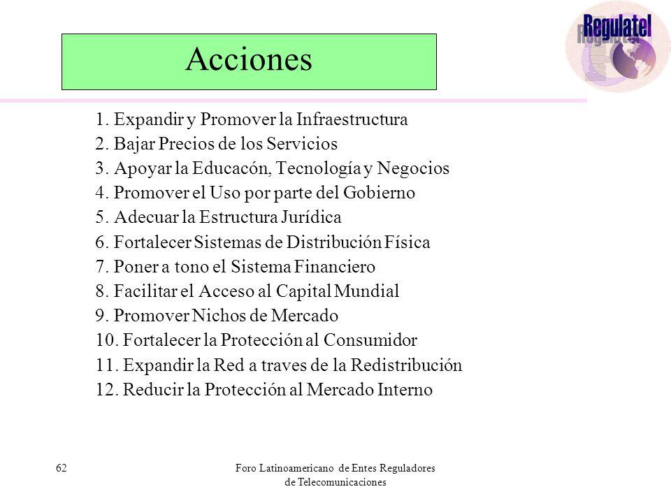 62Foro Latinoamericano de Entes Reguladores de Telecomunicaciones Acciones 1.