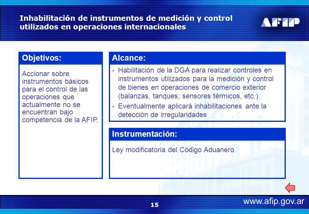 15 Inhabilitación de instrumentos de medición y control utilizados en operaciones internacionales Objetivos: Accionar sobre instrumentos básicos para el control de las operaciones que actualmente no se encuentran bajo competencia de la AFIP.