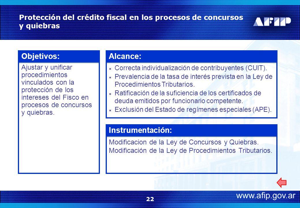 22 Protección del crédito fiscal en los procesos de concursos y quiebras Objetivos: Ajustar y unificar procedimientos vinculados con la protección de los intereses del Fisco en procesos de concursos y quiebras.