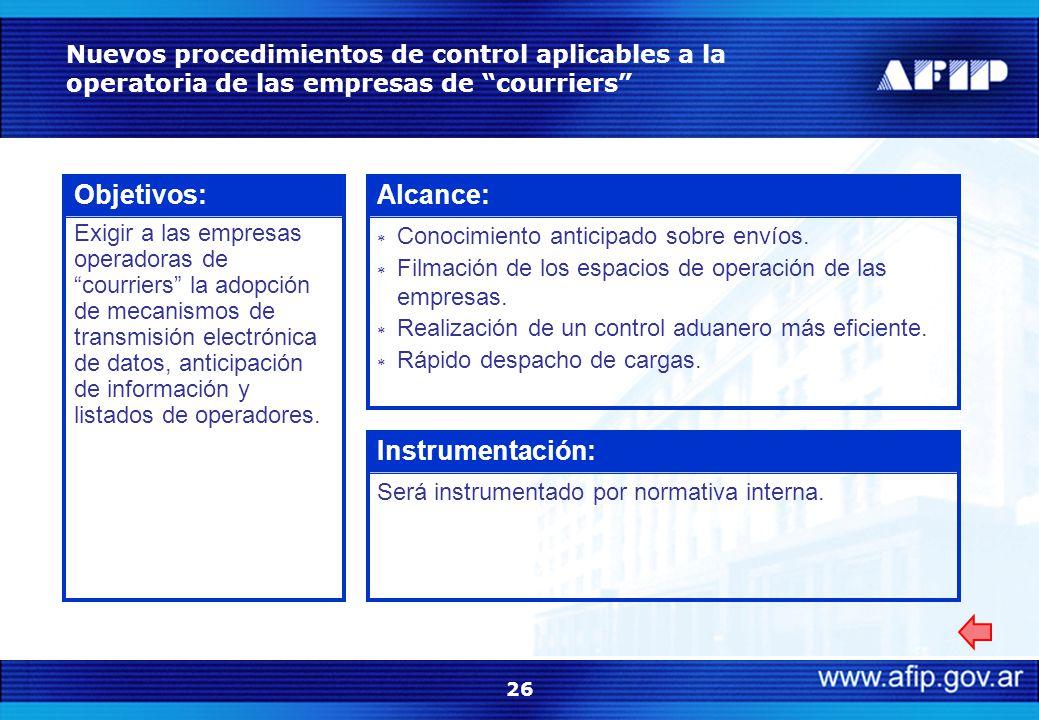 26 Nuevos procedimientos de control aplicables a la operatoria de las empresas de courriers Objetivos: Exigir a las empresas operadoras de courriers la adopción de mecanismos de transmisión electrónica de datos, anticipación de información y listados de operadores.