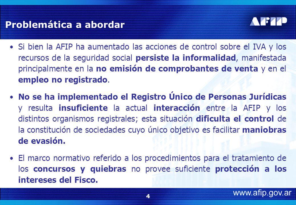 4 Si bien la AFIP ha aumentado las acciones de control sobre el IVA y los recursos de la seguridad social persiste la informalidad, manifestada principalmente en la no emisión de comprobantes de venta y en el empleo no registrado.