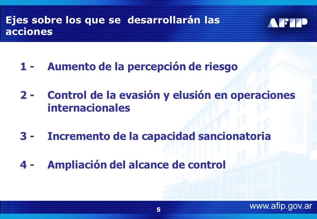 5 Ejes sobre los que se desarrollarán las acciones 1 -Aumento de la percepción de riesgo 2 -Control de la evasión y elusión en operaciones internacionales 3 -Incremento de la capacidad sancionatoria 4 -Ampliación del alcance de control