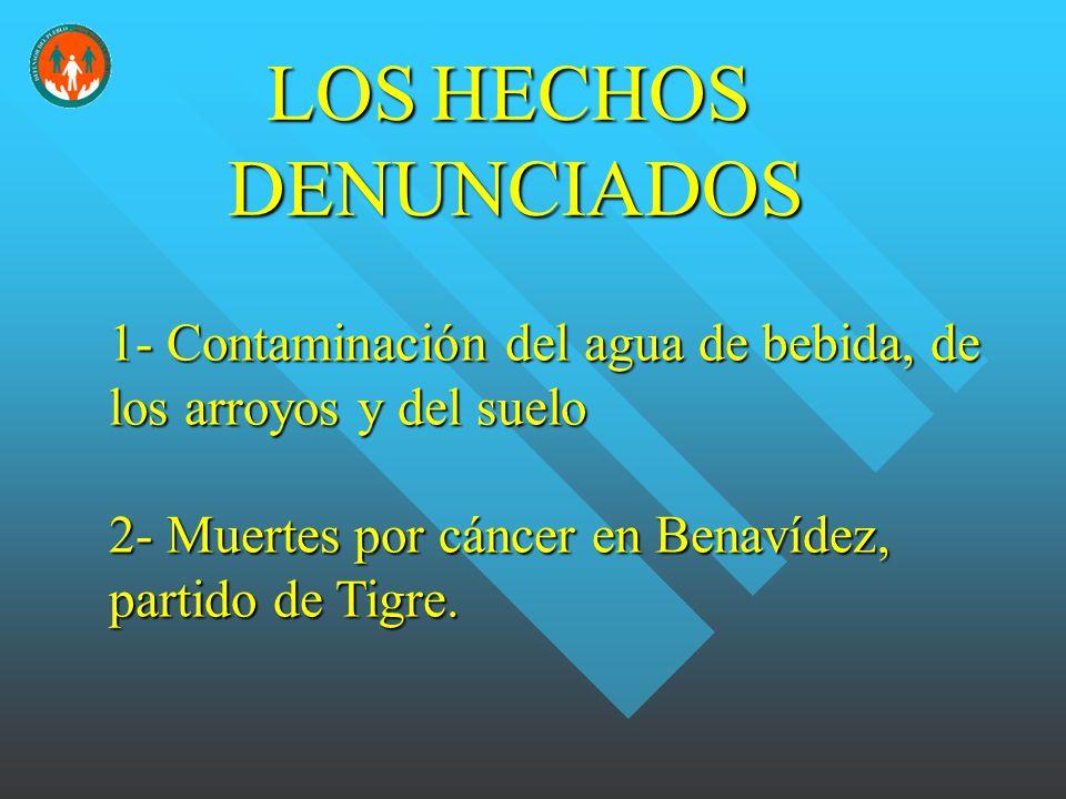 1- Contaminación del agua de bebida, de los arroyos y del suelo 2- Muertes por cáncer en Benavídez, partido de Tigre.