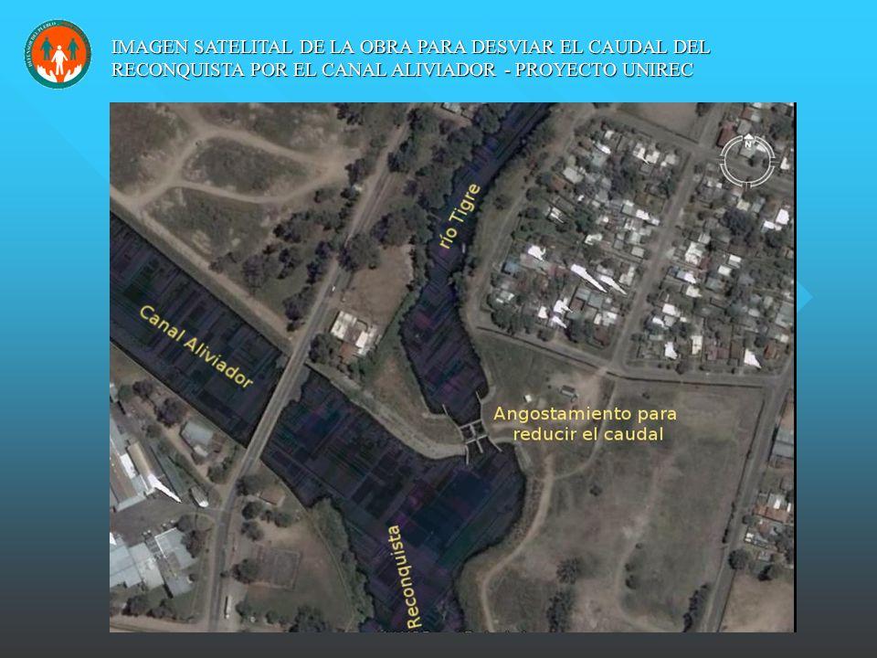 IMAGEN SATELITAL DE LA OBRA PARA DESVIAR EL CAUDAL DEL RECONQUISTA POR EL CANAL ALIVIADOR - PROYECTO UNIREC