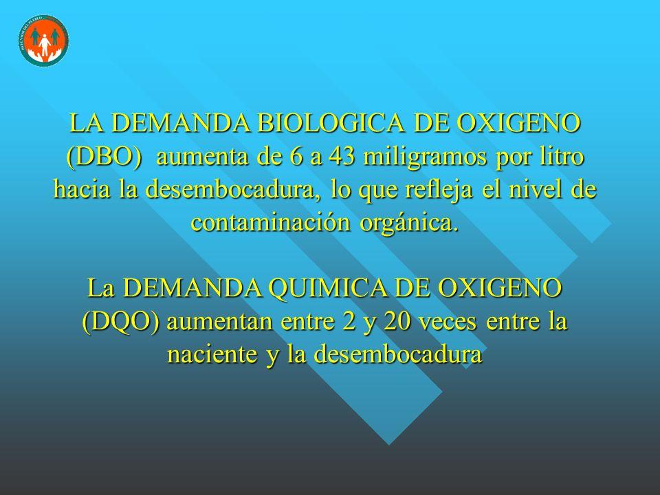 LA DEMANDA BIOLOGICA DE OXIGENO (DBO) aumenta de 6 a 43 miligramos por litro hacia la desembocadura, lo que refleja el nivel de contaminación orgánica.