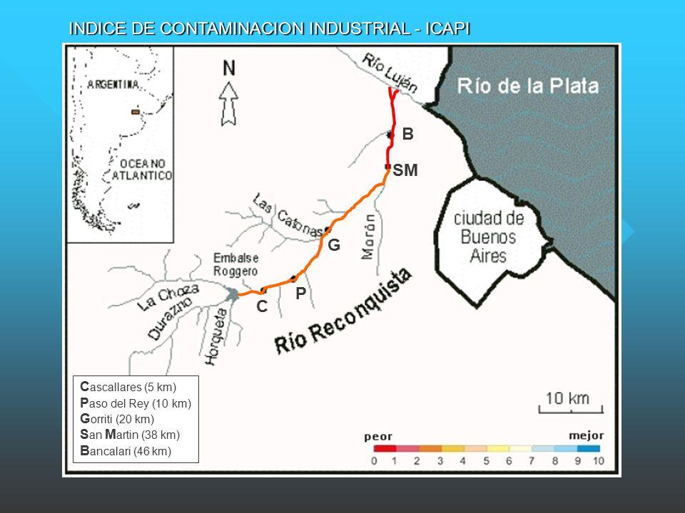 C P G SM B C ascallares (5 km) P aso del Rey (10 km) G orriti (20 km) S an M artin (38 km) B ancalari (46 km) INDICE DE CONTAMINACION INDUSTRIAL - ICAPI