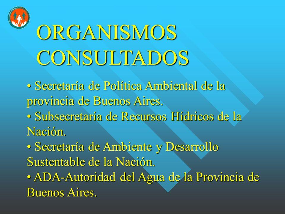 ORGANISMOS CONSULTADOS Secretaría de Política Ambiental de la provincia de Buenos Aires.