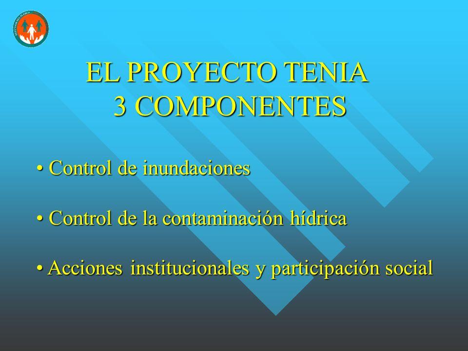 EL PROYECTO TENIA 3 COMPONENTES Control de inundaciones Control de inundaciones Control de la contaminación hídrica Control de la contaminación hídrica Acciones institucionales y participación social Acciones institucionales y participación social