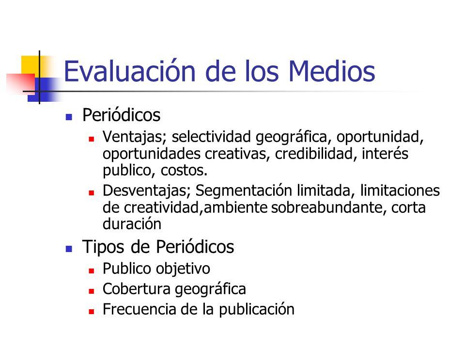 Evaluación de los Medios Periódicos Ventajas; selectividad geográfica, oportunidad, oportunidades creativas, credibilidad, interés publico, costos.